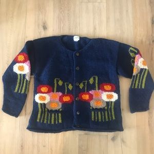 Hand-Knitted Navy Wool Cardigan with Floral Design